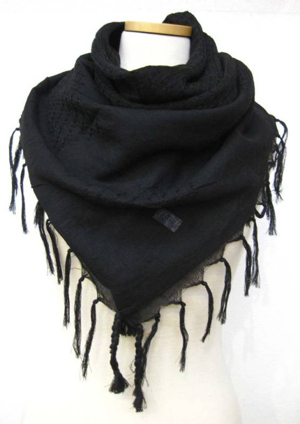 Solid Black Arab Shemagh Scarf 2070