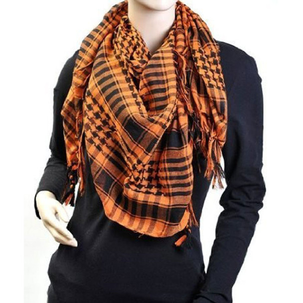 Black And Orange Arab Shemagh Houndstooth Scarf 2076