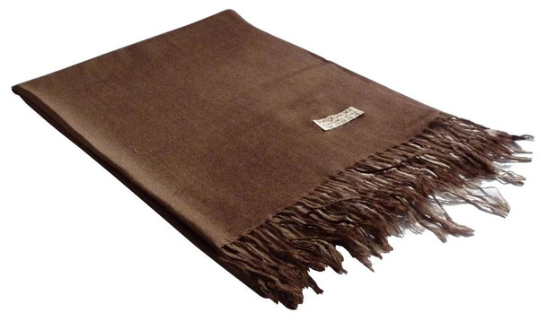 Brown Pashmina Shawl MATERIAL Fine Wool Mix 12 PACK 2101