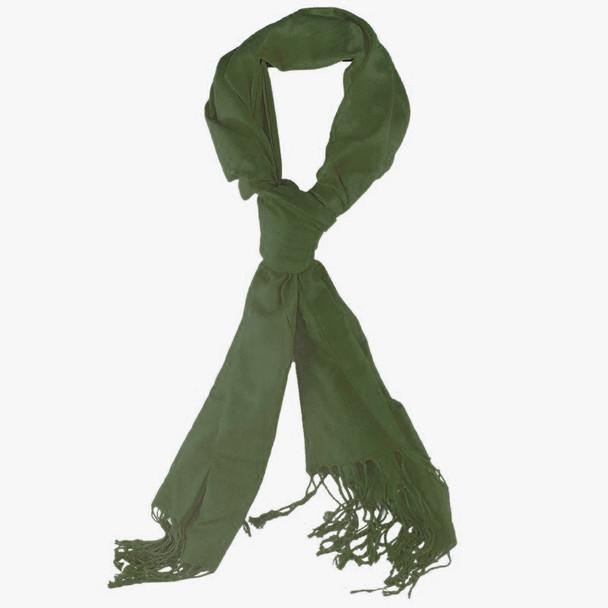 Olive Green Pashmina Shawl 100% Fine Wool Mix 12 PACK 2103