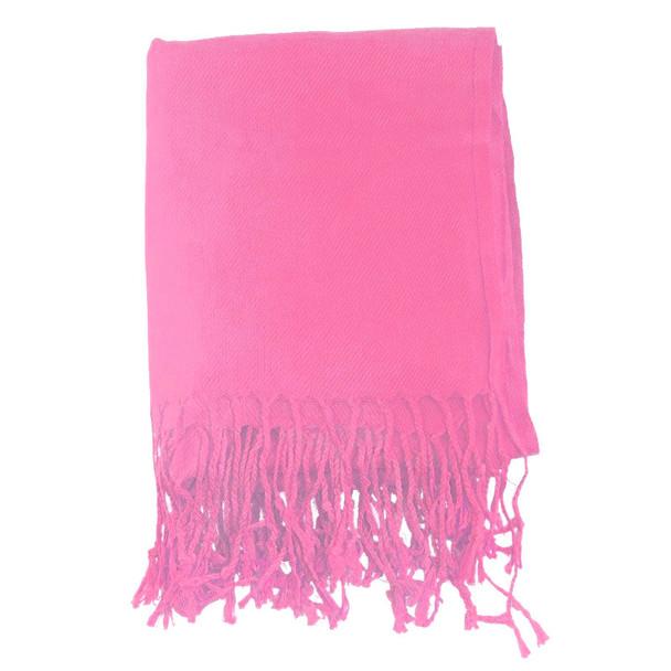 Hot Pink Pashmina Shawl 100% Fine Wool Mix 12 PACK 2104