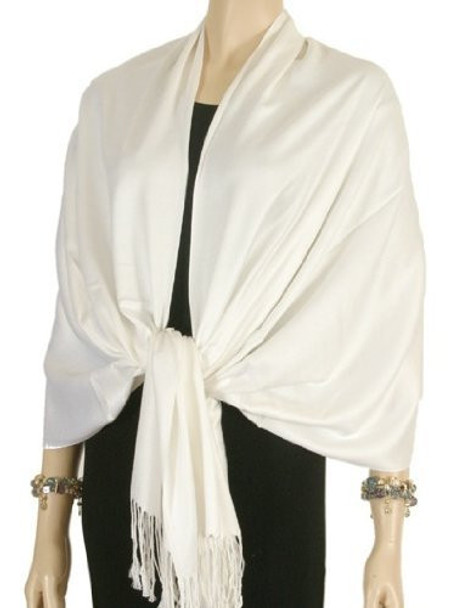 Ivory Pashmina Shawl 100% Fine Wool Mix 12 PACK 2105