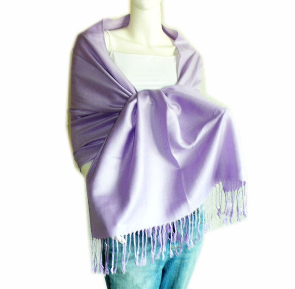 Lavender Pashmina Shawl 100% Fine Wool Mix 12 PACK 2106