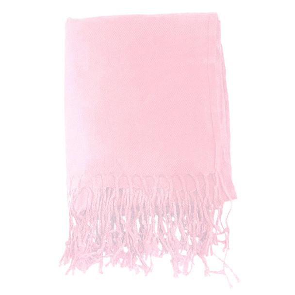 Light Pink Pashmina Shawl 100% Fine Wool Mix 12 PACK 2107