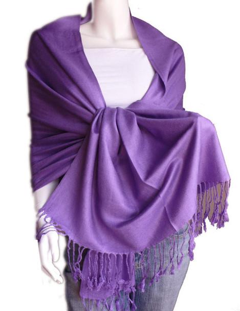 Purple Pashmina Shawl 100% Fine Wool Mix  12 PACK 2110