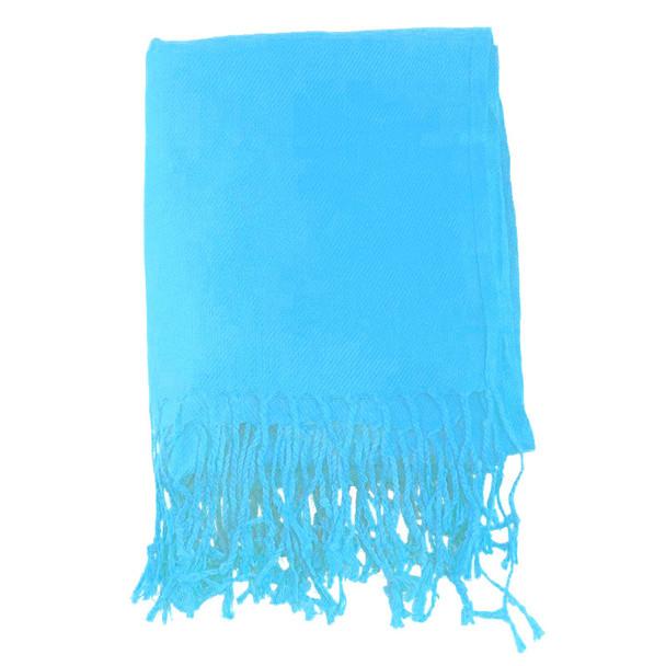 Turquoise Blue Pashmina Shawl 100% Fine Wool Mix 12 PACK 2115