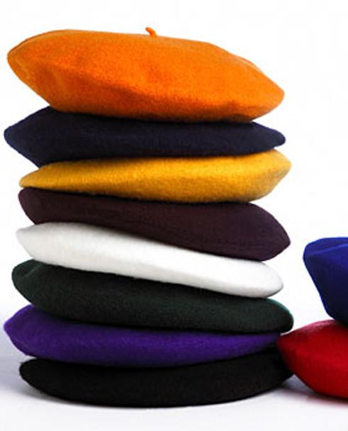 "Bulk Berets Wool Mixed Colors 12 PACK 22.5"" Standard Adult Size 1360A"