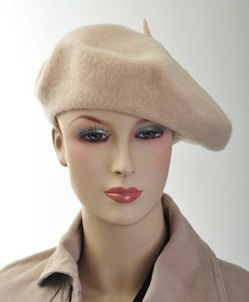 "Tan Beige Beret Wool 22.5"" Standard Adult Size 1372"