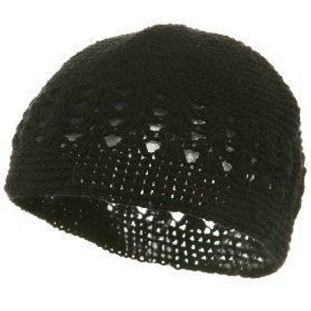 Black Kufi Crochet Beanies 1470