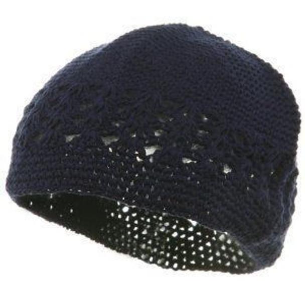 Navy Blue Kufi Crochet Beanies 1474