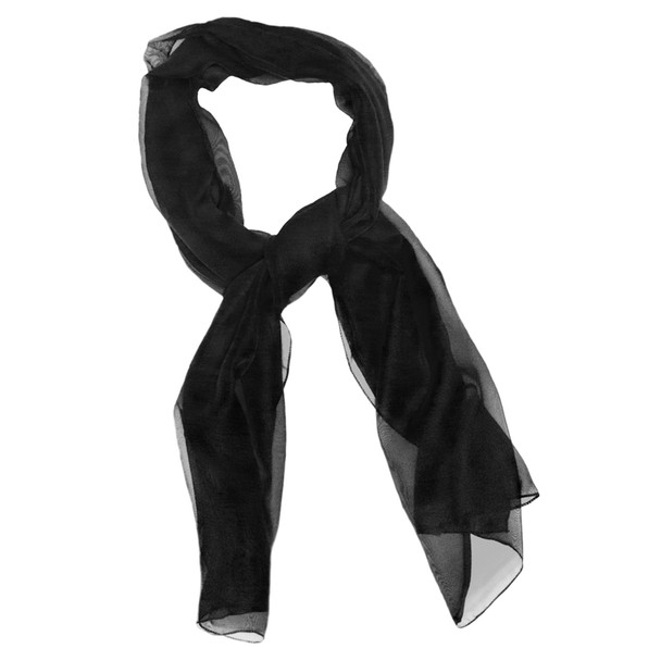"Black Long Sheer Chiffon Scarf  21"" x 60"" 12 PACK  2129"