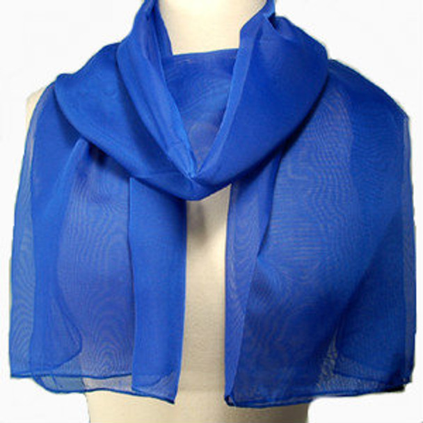 "Royal Blue Long Sheer Chiffon Scarf  21"" x 60"" 2134"
