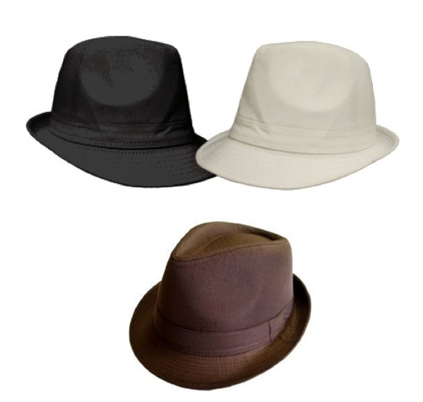 12 PACK Gangster Fedora Hats  Mixed Colors 1310