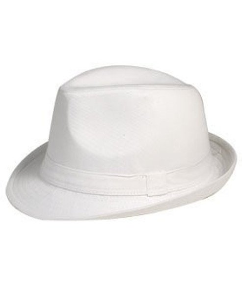 12 PACK |  White Cotton Fedora Hats | 1312