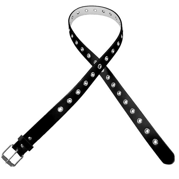 Black One Row Metal Holes Belt 12 PACK