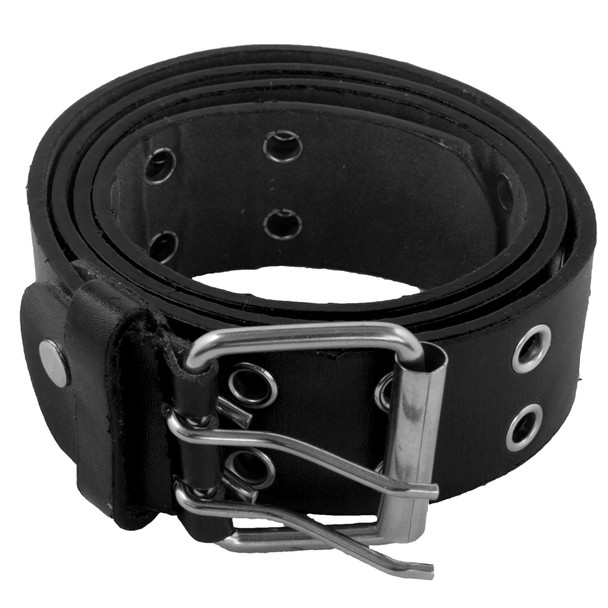 12 PACK Black Punk Two Rows Metal Holes Belts Mix Sizes 2428B