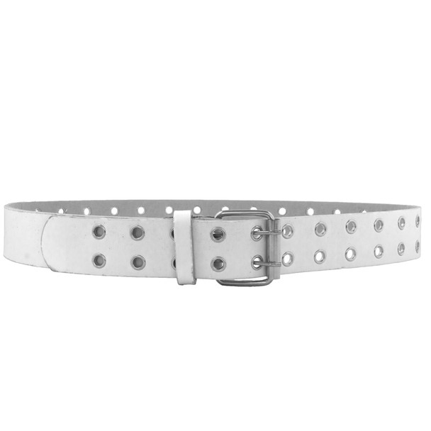 White Punk Two Rows Metal Holes Belt 2452-2455