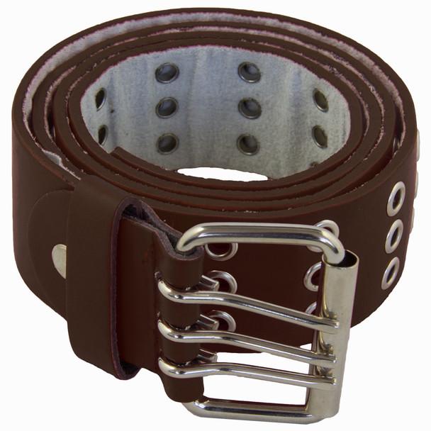 Brown Punk Three Rows Metal Holes Belt 2468-2471