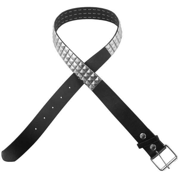 Silver Studded Black Punk Belt 12 PACK 2500-2503