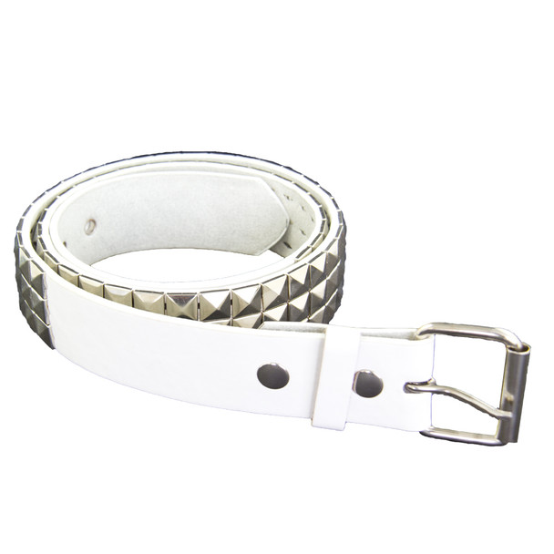 Punk Belts Silver Studded White Mix Sizes 12 PACK 2508A