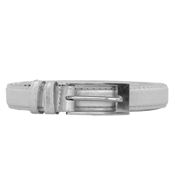 Silver Skinny Belt with Rectangle Buckle 2780-2783