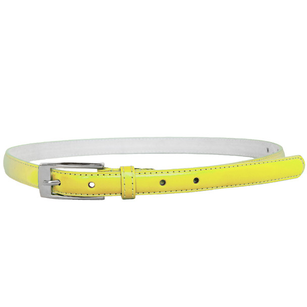 Yellow Skinny Belt with Rectangle Buckle 2812-2815
