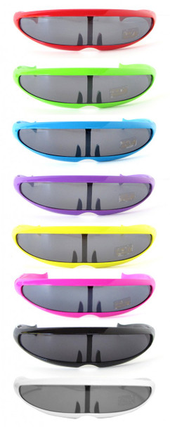 Retro Sunglasses Cyclops 80's Futuristic Sunglasses - 12 PACK 1001