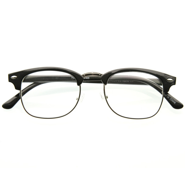 Half Frame Glasses Clear Lens Vintage Adult Style Black 1070
