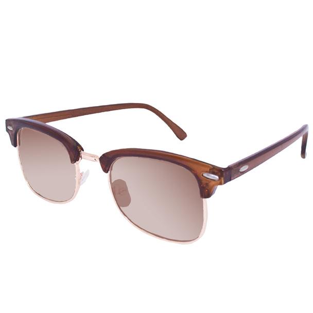 Brown Half Frame SunglassesVintage Adult Size Brown/Brown Lens 1073