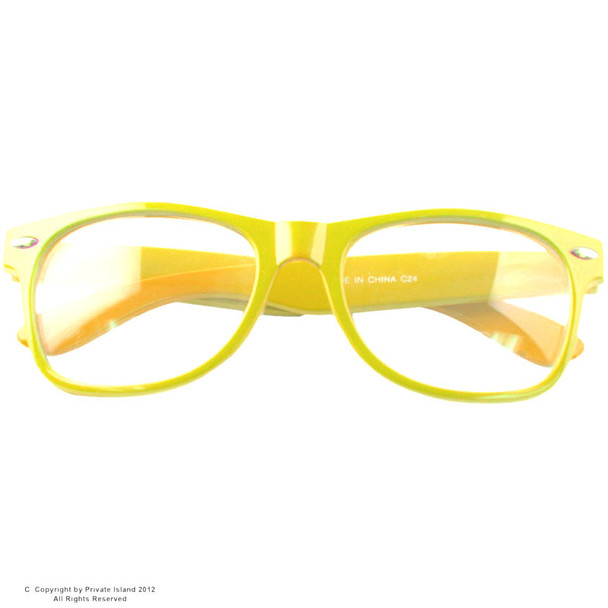 Yellow Clear Lens   Iconic 80's Style    Yellow Adult Style Glasses 7074