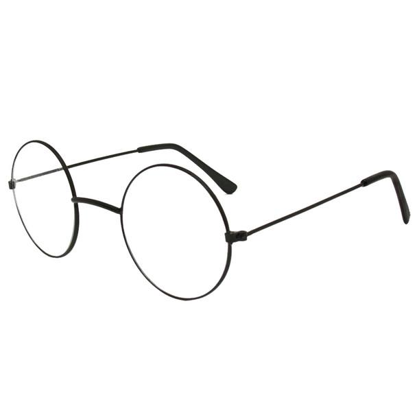 Black Frame and Clear Lens Lennon Style Sunglasses 1098