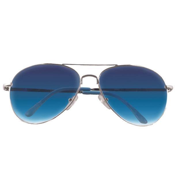 Silver Frame and Blue Lens Aviator Sunglasses 1103