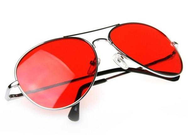 Silver Frame and Red Lens Aviator Sunglasses 1105