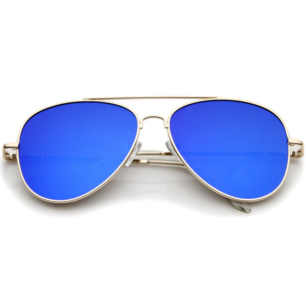 Blue Reflective Lens Aviator   Wholesale Blue Lens Aviator   1107