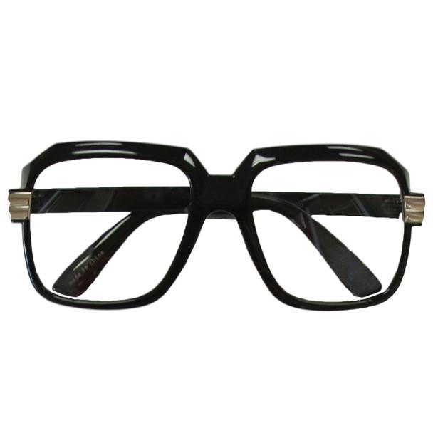 Rapper Style Black Frame/Clear Lens Sunglasses 1145