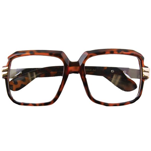 Rapper Style Brown Tortoise Frame/Clear Lens Sunglasses 1149