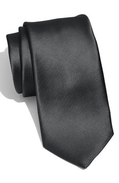 "Black 3.75"" Wide Standard Satin Tie 6826"