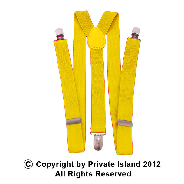 Yellow Suspenders Elastic Clip On 1287