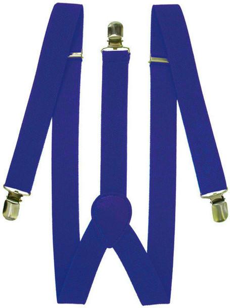Royal Blue Suspenders Elastic Clip On 1292