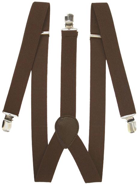 Brown Suspenders Elastic Clip On 1293
