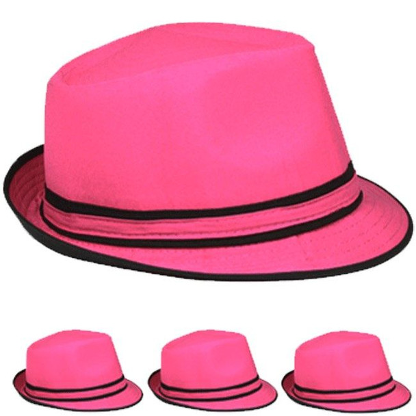 Pink Hats | Pink Fedora Hats | 1315 12 PACK