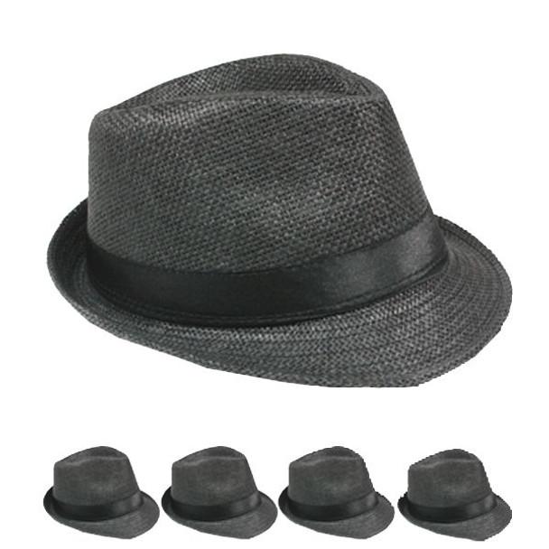 12 PACK Black Gangster Fedora Cuban Tweed 1316