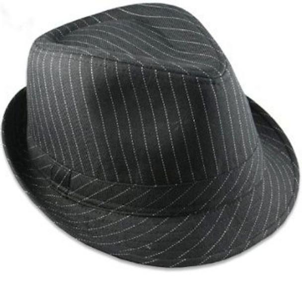 12 PACK Pinstripe Gangster Fedora Hats Black Adult 1317