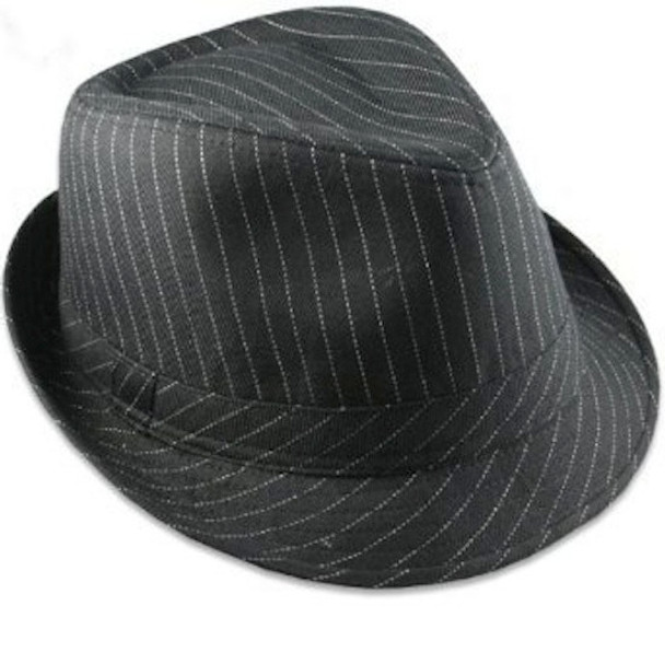 12 PACK Pinstripe Gangster Fedora Hats Black Adult 1317