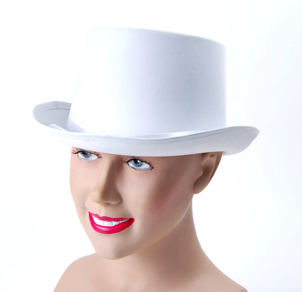 Satin Top Hat White Deluxe 1537