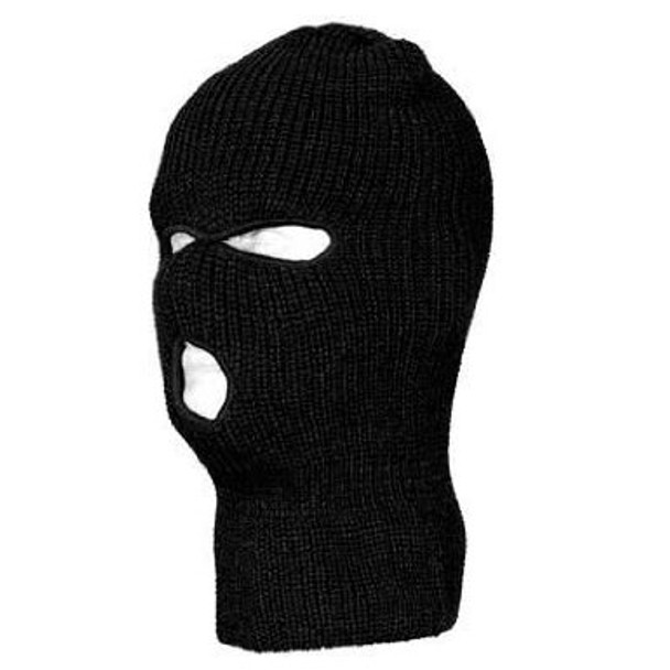 Thief Mask - 3-Hole Knit Robber Black 12 PACK | 3051D