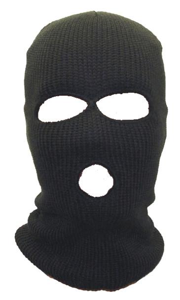 Three Hole Knit Ski Mask - Black 3056