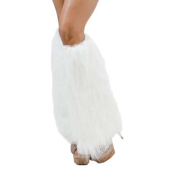 White Furry Leg Warmers 6752