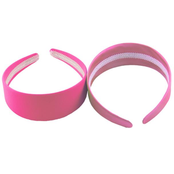 80's Neon Pink Satin Headband 6668