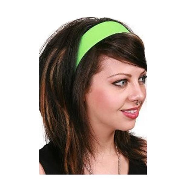 80's Neon Green Satin Headband 6669